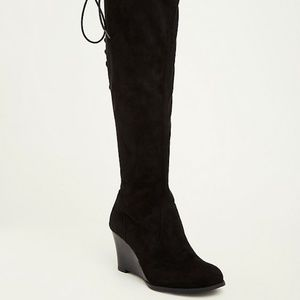 Torrid FAUX SUEDE LACE-UP WEDGE BOOTS Wide Width